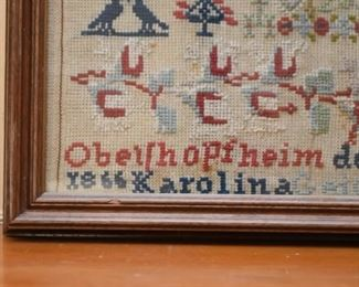 Framed Antique Needlepoint Sampler