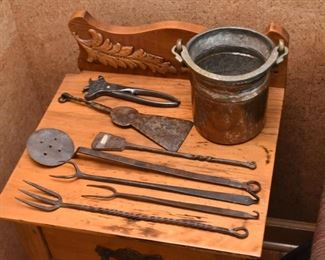 Copper Pot & Hand Forged Tools / Utensils