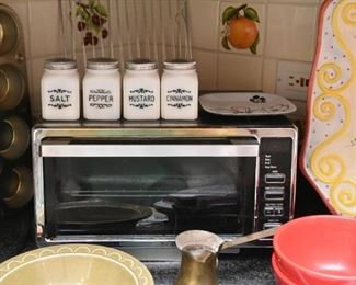 Toaster Oven, Milk Glass Spice Jars