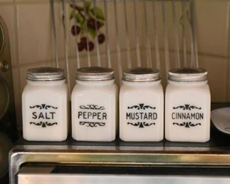 Milk Glass Spice Jars