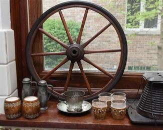 Salt & Pepper Shakers, Old Wheel, Shot Glasses