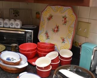Red Ramekins, Serving Platter, Bowls, Baking Dishes, Etc.