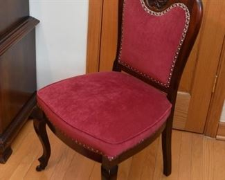 Antique / Vintage Parlor Chair with Carved Detail & Nailhead Trim