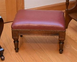 Vintage Footstool with Nailhead Trim