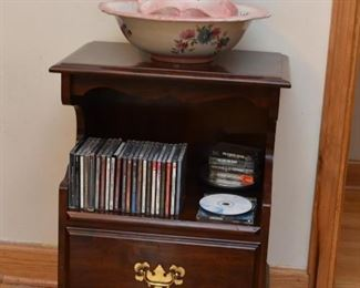 Pair of Traditional Nightstands, CD's, Pitcher & Bowl Set
