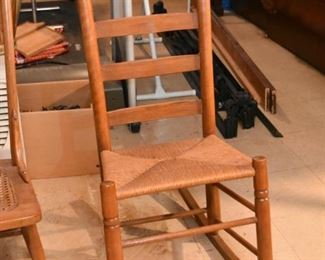 Ladderback Rocking Chair with Rush Seat