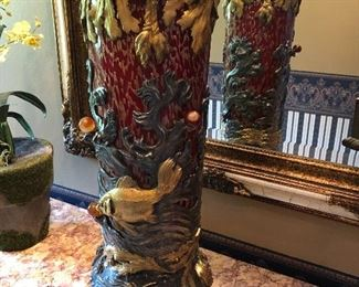 """French """"Japonism"""" Vase  L' Escalier de Cristal attributed. 22-1/2"""" tall, Circa 1870.  Exceptional, Rare and Original Red and Gold Glass,   Martele' carved to simulate gentle water ripples. Mounted with Gilt and Silvered Bronze with Fish, Lobsters, Crabs, and Shells with Seaweed."""