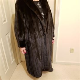100% mink coat, mink hat and fur collar also available