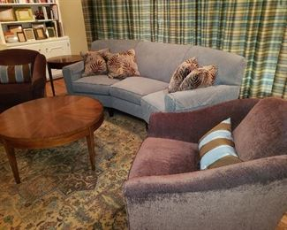 Living Room Set with Custom Draperies and Floor Rug