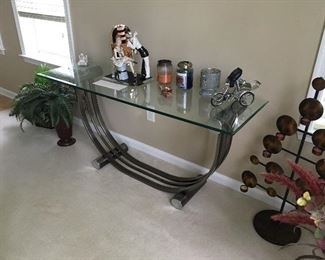 Brass table with glass top