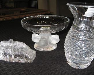 Lalique bowl, Waterford vase and cottage.