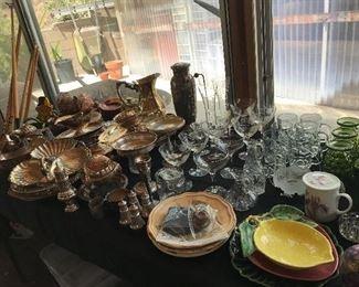 Silver, glassware