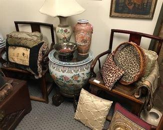 Pair Chinese chairs-