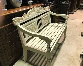 Painted teak garden bench