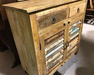 Reclaimed wood shutter cabinet