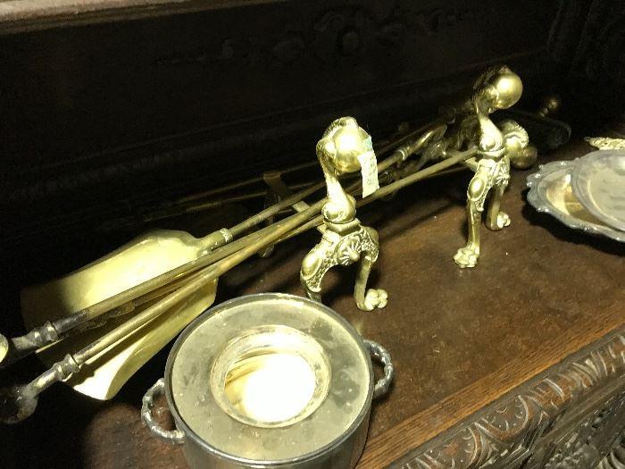 Brass fireplace tools