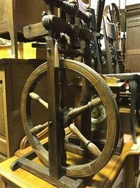Several spinning wheels