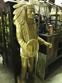 Life size carved wooden Indian