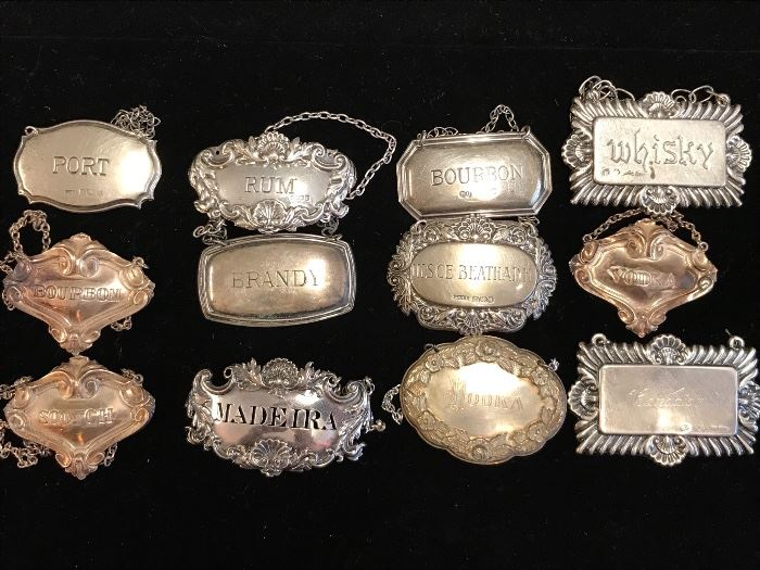 sterling & silverplate liquor decanter labels