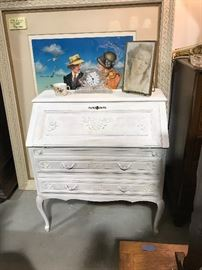 Painted country French drop front desk