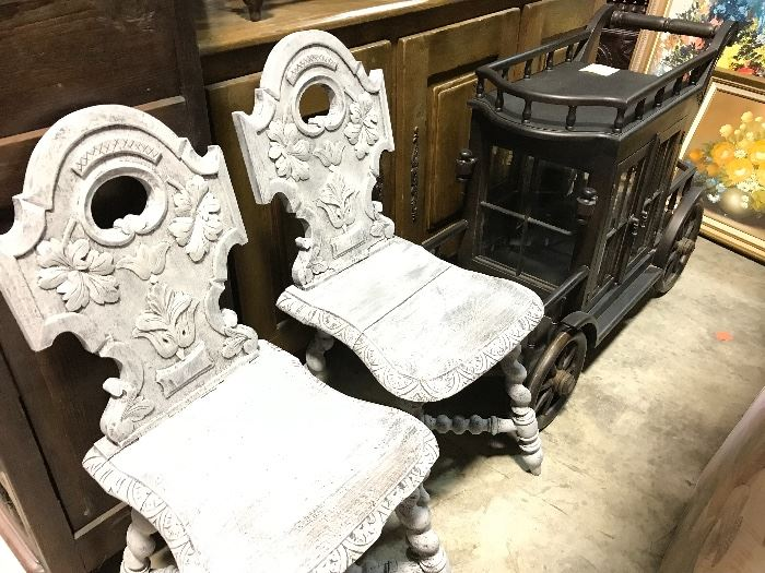 Painted early hall chairs