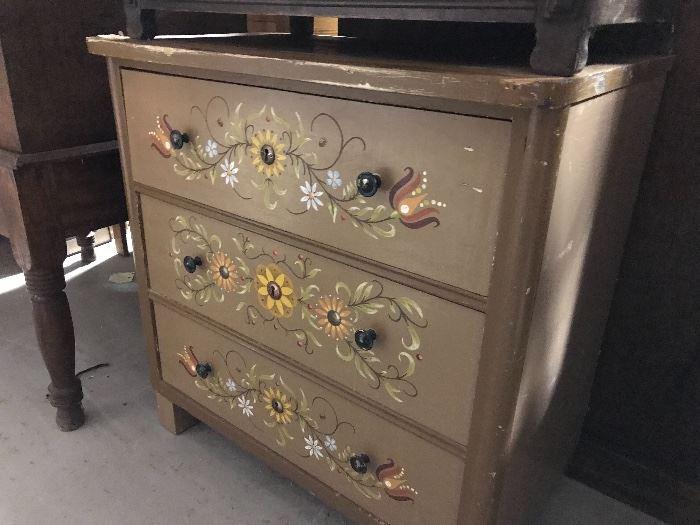 Folk art painted chest