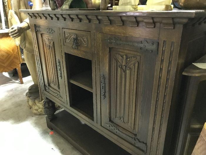 Linen fold carved sideboard