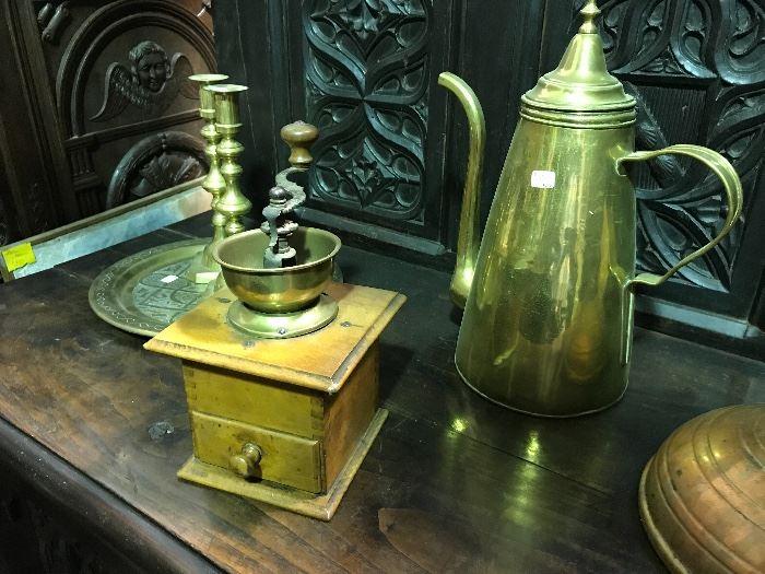 Coffee grinders, copper & brass