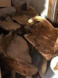 Rustic root stools