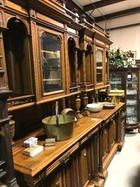 Matching pair walnut French cabinets
