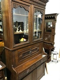 Carved French fall front desk with fitted interior