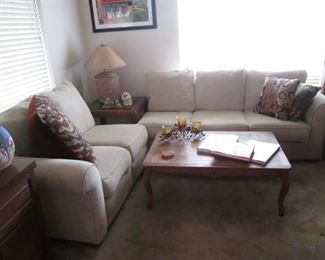 Sofa & Love Seat Sectional with Sleeper in the large section!