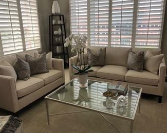 STICKLEY SOFA AN LOVESEAT WITH GLASS TABLE