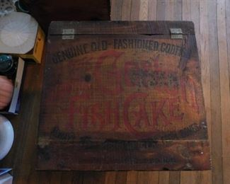 Old Advertising Cod Fish Cake Wooden Store Box