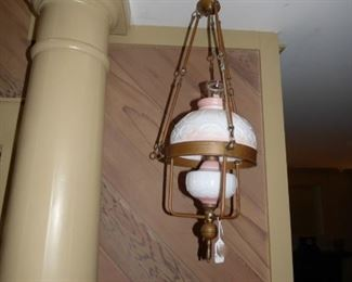 Antique Copper Kerosene hanging lamp with peach & white glass shade