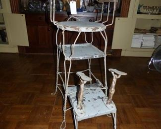 """Unique antique Shoe Shine Chair ( Late 19th/Early 20th Century ) Twisted iron 'Ice Cream Parlor""""  Style. This triple decker is very rare."""
