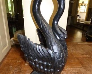 Close Up of Caved wood swan