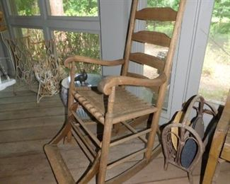 Unusual vintage wooden rocking chair with footrest