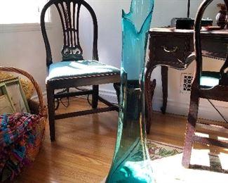 Vintage Mid Century Large Glass Swung Vase
