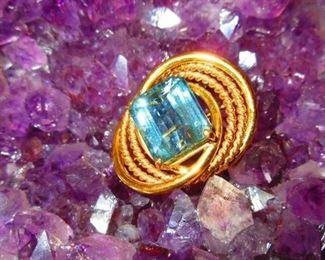 Aquamarine set in 14 karat gold, 9.1 dwt