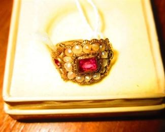 Victorian children's ring with Ruby and seed pearls