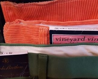 New With Tags - Vineyard Vines Coral Size 38 waist Corduroy pants (sold unhemmed) and Brooks Brothers pants Size 38/32