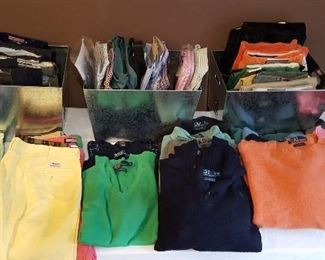 Mens Size 38 (Ralph Lauren and Vineyard Vines) shorts, New With Tags Mens Size 38/32 pants and cords (Ralph Lauren and Vineyard Vines), New With Tags Ralph Lauren and Brooks Brothers XL dress shirts, and Ralph Lauren XL sweaters.