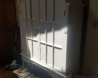 Wooden white storage cabinet