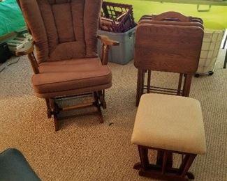 Glider, footstool, tv trays