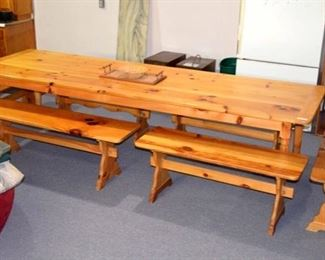 southern yellow pine banquet size table with 6 benches