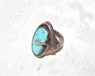 Native American sterling & turquoise snake ring signed R. Yatsattie