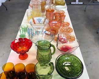 Vintage Glassware - Crackle, Fenton Milk Glass