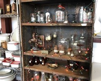 Vintage Glass Milk Bottles, Rustic  & Glass