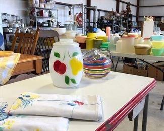 Vintage Bartlett Collins Hand Painted Cookie Jar, Enamel Top Table, Linens